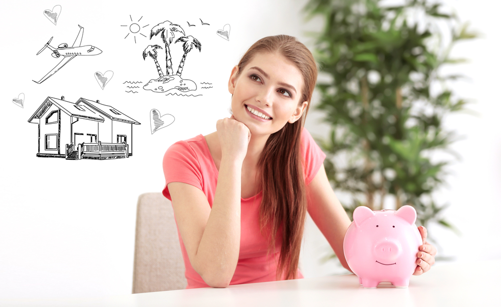 Young woman thinking about where she wants her money to go