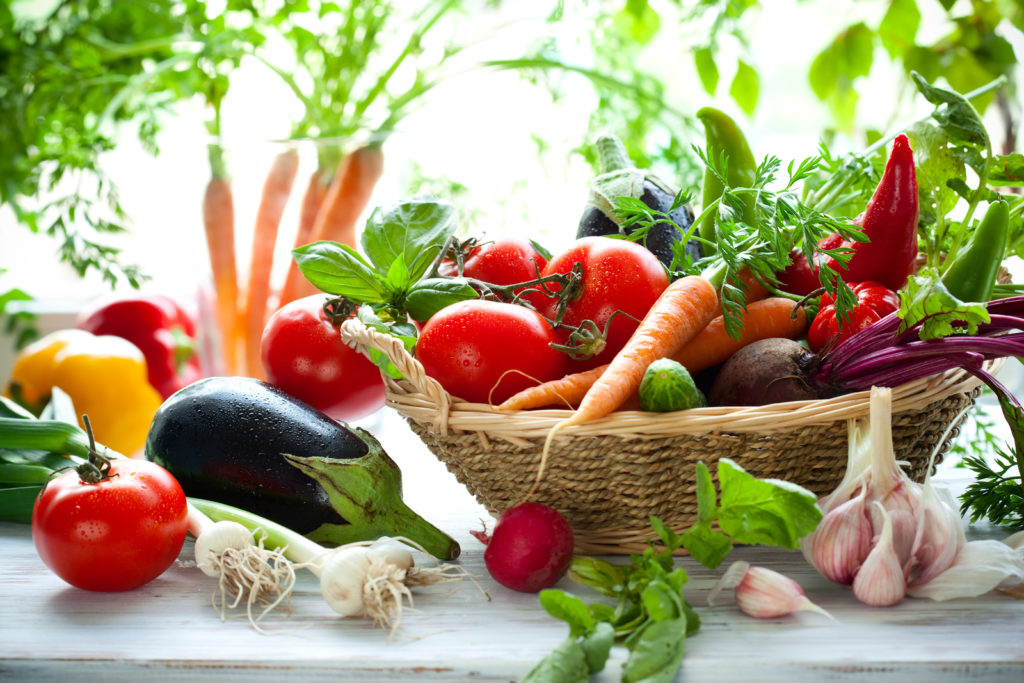 image of fresh fruits and vegetables in a basket