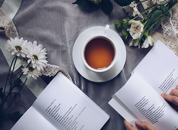 image of cup of tea and journals
