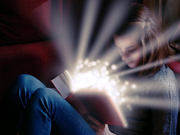 Reading book while glow is coming out